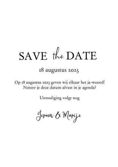 Save the date met foto, bijbeltekst en takje 3