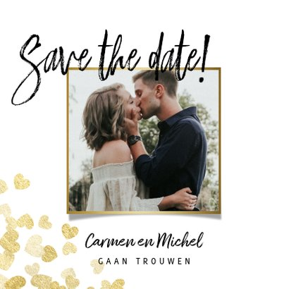Save the date stijlvolle kaart gouden hartjes en foto 2