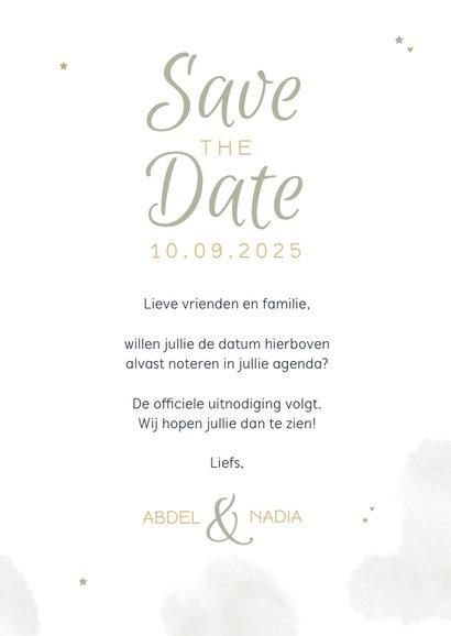 Save the date trouwkaart Arabisch eucalyptus maan goud foto 3