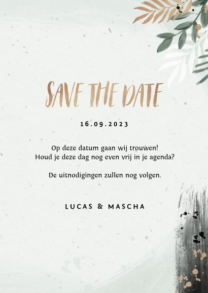 Save the date trouwkaart botanisch goud waterverf 3