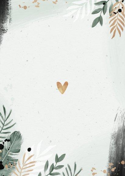 Save the date trouwkaart botanisch goud waterverf Achterkant