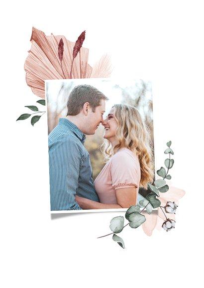 Save the date trouwkaart droogbloemen stijlvol klassiek foto 2