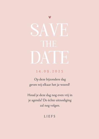 Save the date trouwkaart droogbloemen stijlvol klassiek foto 3