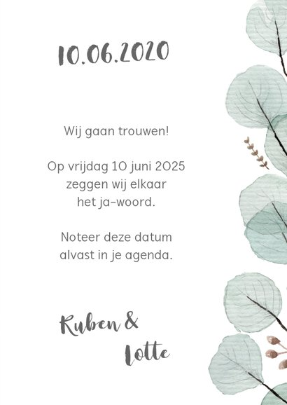 Save the date/trouwkaart eucalyptus 3