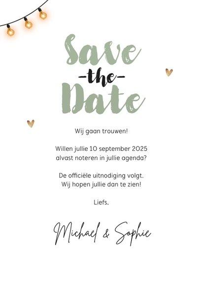 Save the date trouwkaart houtlook festival style wegwijzers 3