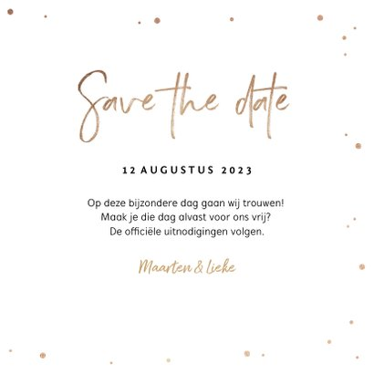 Save the date uitnodiging stijlvol goudlook confetti 3