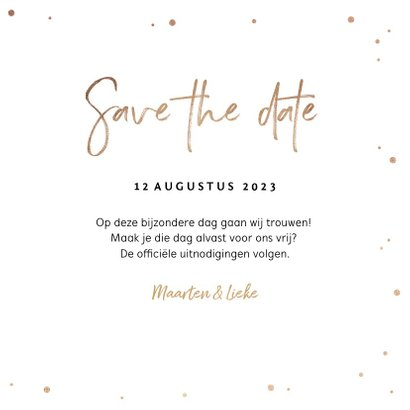 Save the date uitnodiging stijlvol goudlook confetti 3