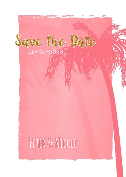 Save the date zomers goud palm S 3
