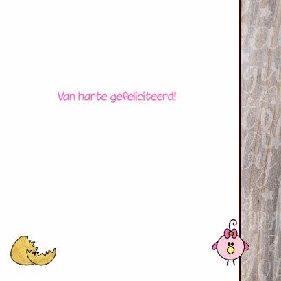 Schattig felicitatie kaartje geboorte meisje met een vogel 3