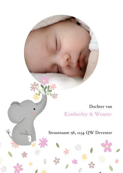 Schattig geboortekaartje met olifantje en bloemetjes 2