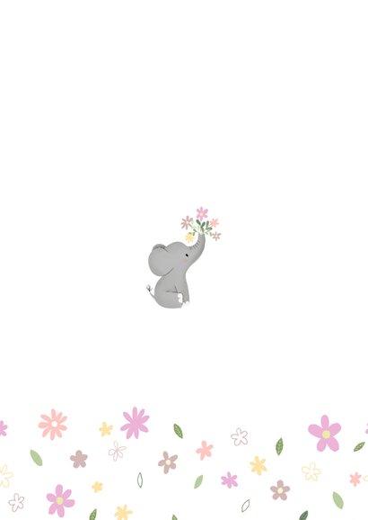 Schattig geboortekaartje met olifantje en bloemetjes Achterkant