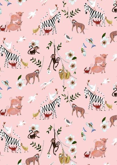 Schattig geboortekaartje roze met trendy luiaard dieren 2