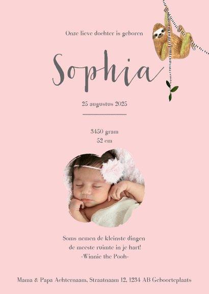 Schattig geboortekaartje roze met trendy luiaard dieren 3
