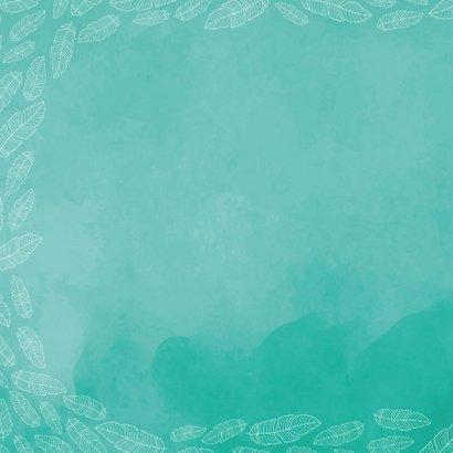 Schattig vierkant  geboortekaartje met veertjes en waterverf 2