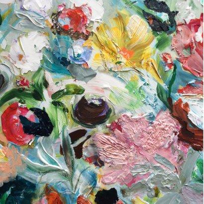 Schilderij Bloemen geel rood 2