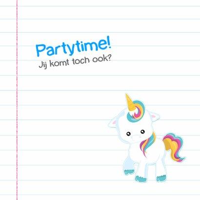 Schoolschrift met unicorn & regenboog stickers 2