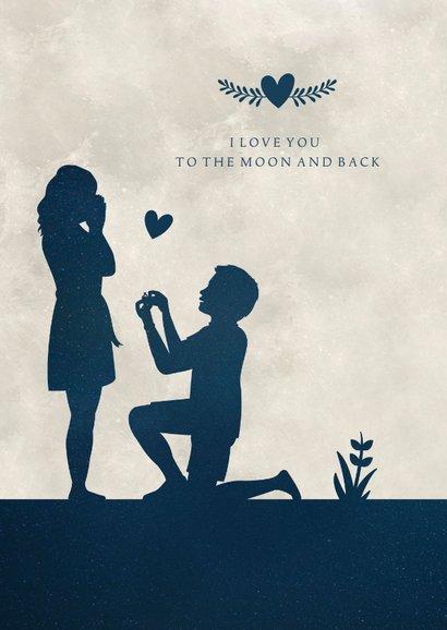 Silhouet verlovingskaart - uitnodiging verlovingsfeest maan 2