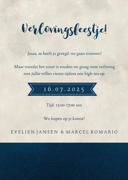 Silhouet verlovingskaart - uitnodiging verlovingsfeest maan 3
