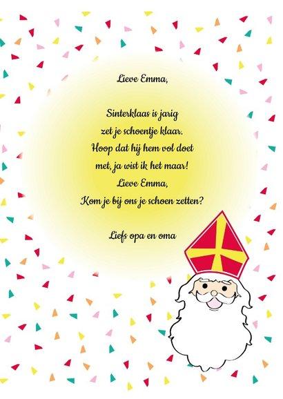 Sinterklaas is jarig, vrolijke feest kaart 3