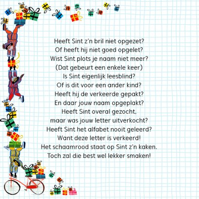 Sinterklaas kaart met chocolade-letter O 2