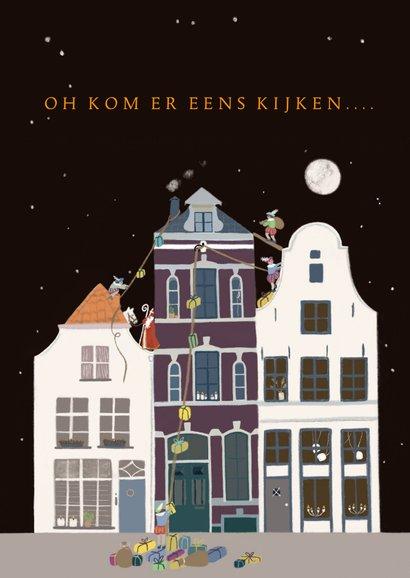 Sinterklaas kaart Sint en Pieten op het dak 2