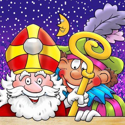 Sinterklaas met paard en Piet in de wolken op het dak 3