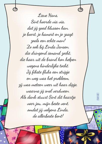 Sinterklaas - Sint met gedicht en een berg pakjes 2