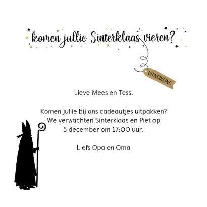 Sinterklaas uitnodiging voor sinterklaasavond met liedje 3