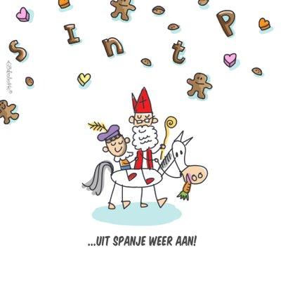 Sinterklaaskaart met stoomboot en sint en piet 2