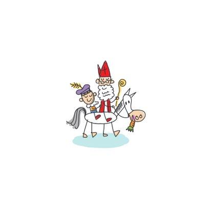 Sinterklaaskaart met stoomboot en sint en piet Achterkant