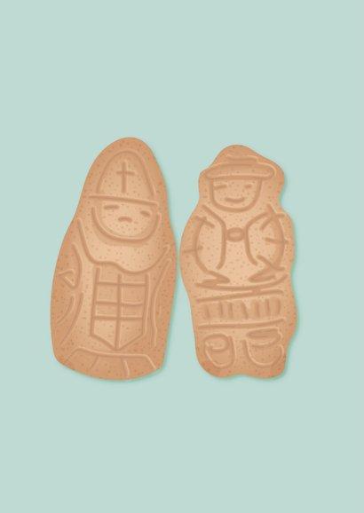 Sinterklaaskaart met twee taaipopjes 'hou je taai taai' 2