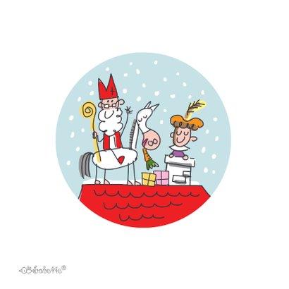 Sinterklaaskaart sint met pieten in volkswagenbusje 2