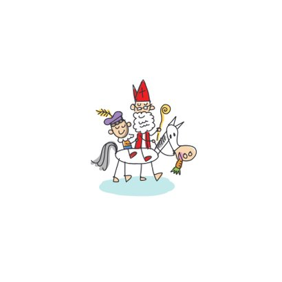 Sinterklaaskaart sint met pieten in volkswagenbusje Achterkant