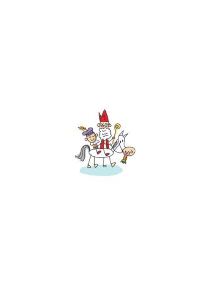 Sinterklaaskaart volkswagenbus met sint en pieten en foto Achterkant