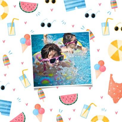 Sommerliche Urlaubskarte 2 Fotos und tropisches Muster 2