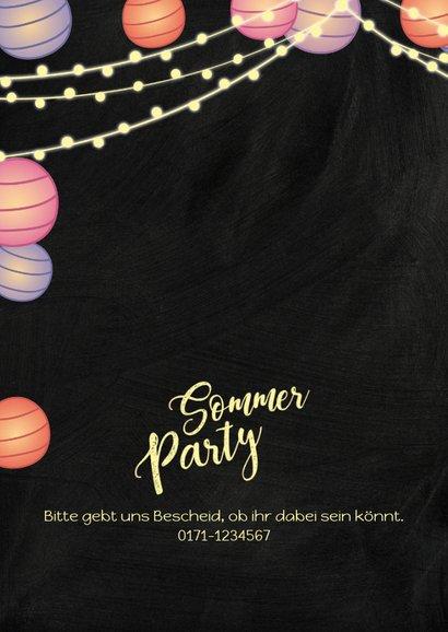 Sommerparty Einladungskarte mit Lampions 2