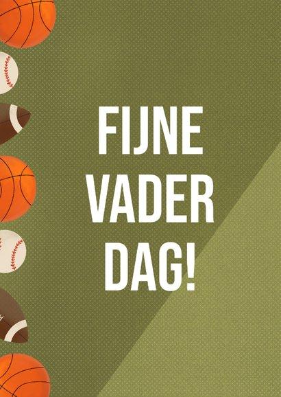 Sportieve vaderdagkaart met ballen groen sportveld en tekst 2