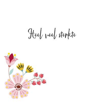 Sterkte en medeleven wenskaart met hart en bloemen 2