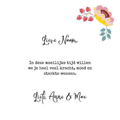 Sterkte en medeleven wenskaart met hart en bloemen 3