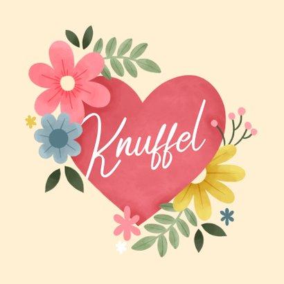 Sterkte kaart knuffel met hart, bloemen en foto 2