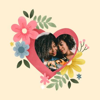 Sterkte kaart knuffel met hart en bloemen 2