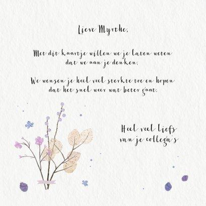 Sterkte kaart met paarse bloemen en takjes 3