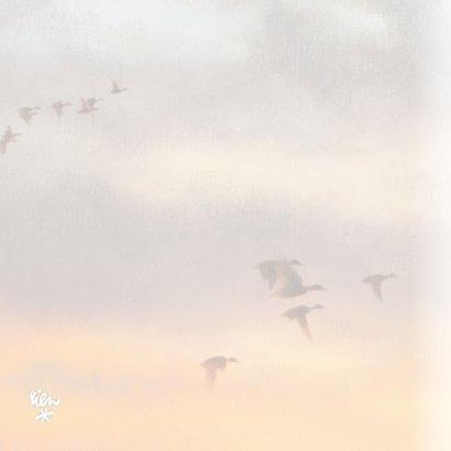 Sterkte kaart met vogels in de lucht en ondergaande zon 2