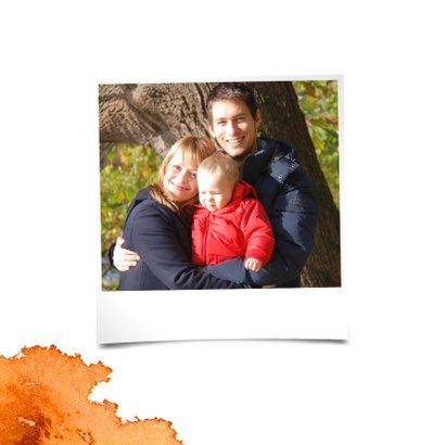 Sterktekaart met herfstblad en aquarel kleurvlekken 2