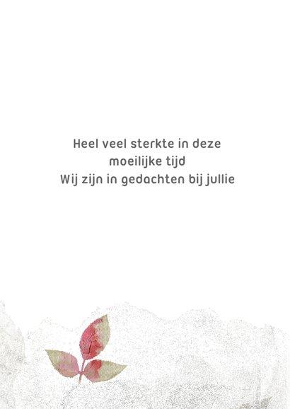 Sterktekaart roze blad op grijs 3