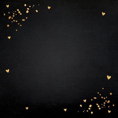 Sterktekaart zwart goudlook typografie confetti Achterkant