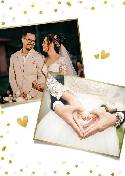 Stijlvol bedankkaartje huwelijk met eigen foto en confetti 2