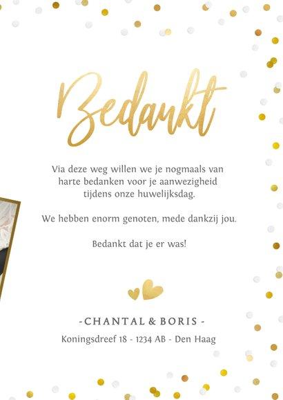 Stijlvol bedankkaartje huwelijk met eigen foto en confetti 3