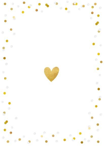 Stijlvol bedankkaartje huwelijk met eigen foto en confetti Achterkant