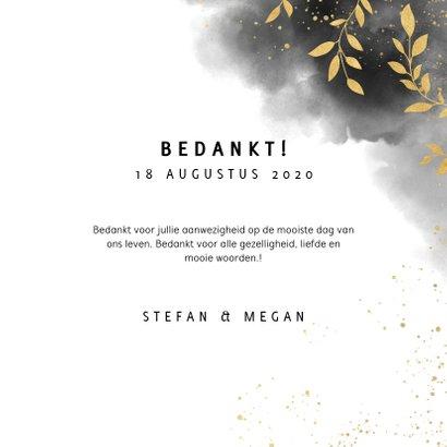 Stijlvol bedankkaartje met waterverf en gouden plantjes 3